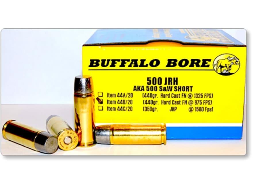 Buffalo Bore Ammunition 500 JRH (500 S&W Short) 440 Grain Hard Cast Lead Flat Nose Box ...