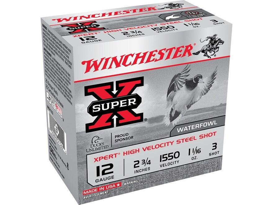 "Winchester Xpert High Velocity Ammunition 12 Gauge 2-3/4"" 1-1/16 oz #3 Non-Toxic Steel ..."