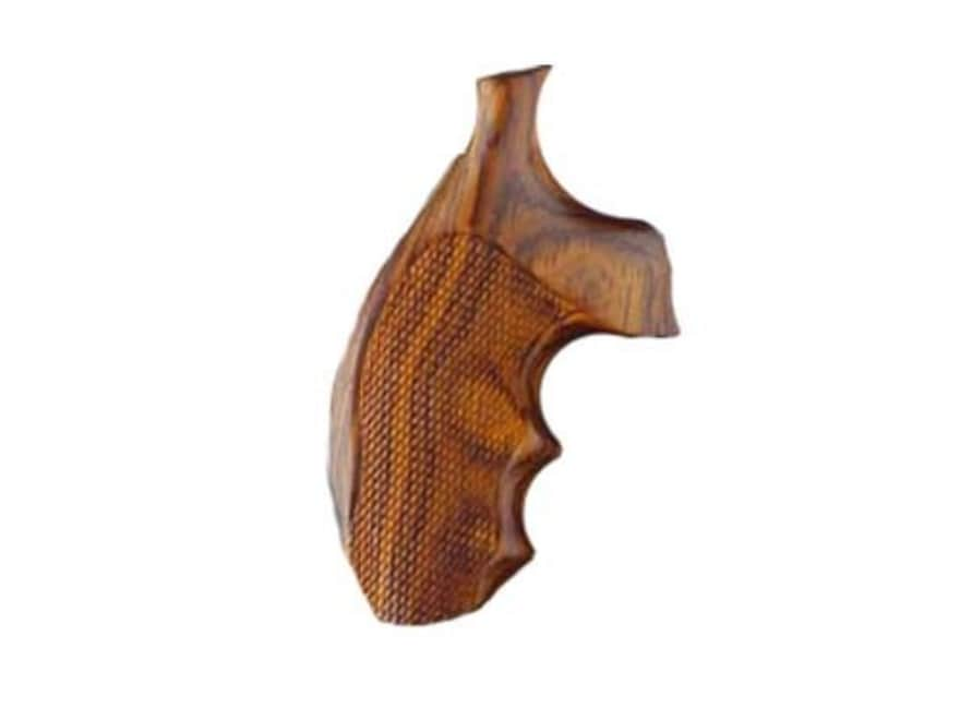 Hogue Fancy Hardwood Grips with Finger Grooves S&W J-Frame Round Butt Checkered