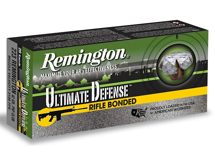 Remington Ultimate Defense 223 Remington 62 Grain Bonded Pointed Soft Point Box of 20