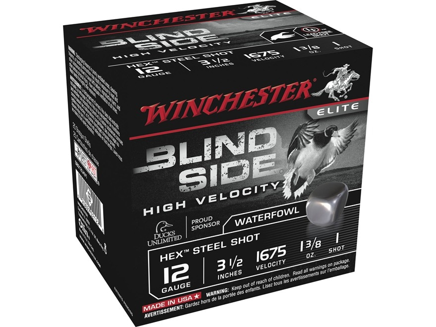 """Winchester Blind Side High Velocity Ammunition 12 Gauge 3-1/2"""" 1-3/8 oz #1 Non-Toxic St..."""