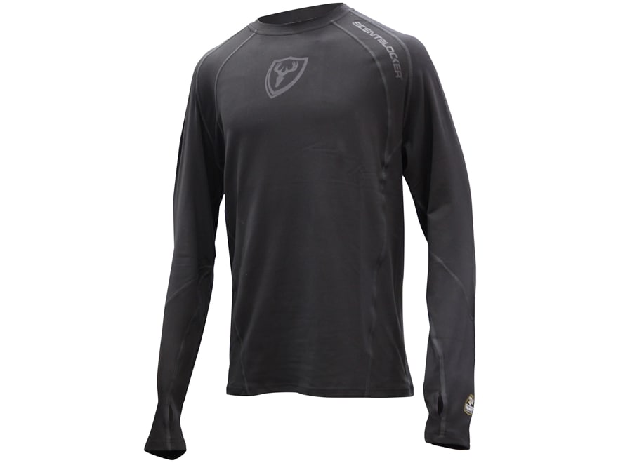 ScentBlocker Men's Black Out 1.5 Performance Long Sleeve Crew Shirt Polyester