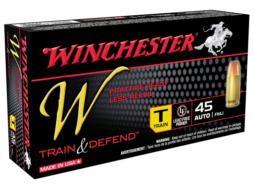 Winchester W Train Reduced Recoil Ammunition 45 ACP 230 Grain FMJ