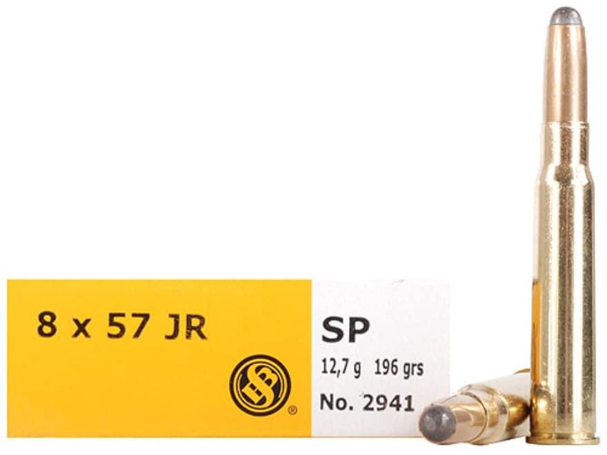Sellier & Bellot Ammunition 8x57mm JR Mauser (Rimmed Mauser) 196 Grain Semi-Jacketed So...