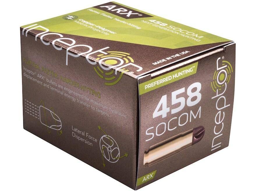 Inceptor Preferred Hunting Ammunition 458 SOCOM 200 Grain ARX Frangible Lead-Free Box o...