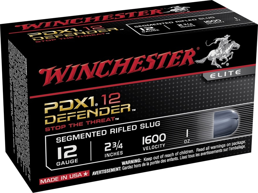 "Winchester PDX1 Defender Ammunition 12 Gauge 2-3/4"" 1 oz Segmenting Slug"