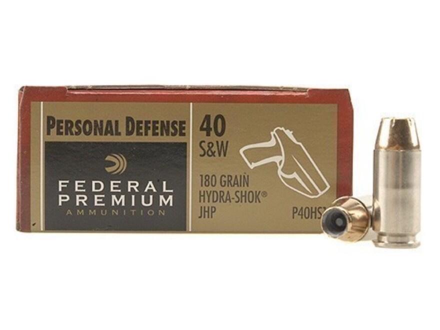 Federal Premium Personal Defense Ammunition 40 S&W 180 Grain Hydra-Shok Jacketed Hollow...