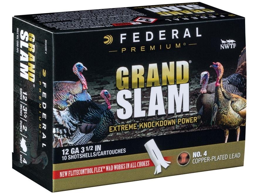 """Federal Premium Grand Slam Turkey Ammunition 12 Gauge 3-1/2"""" 2 oz Buffered #4 Copper Pl..."""