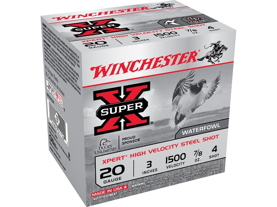 """Winchester Xpert High Velocity Ammunition 20 Gauge 3"""" 7/8 oz #4 Non-Toxic Plated Steel ..."""