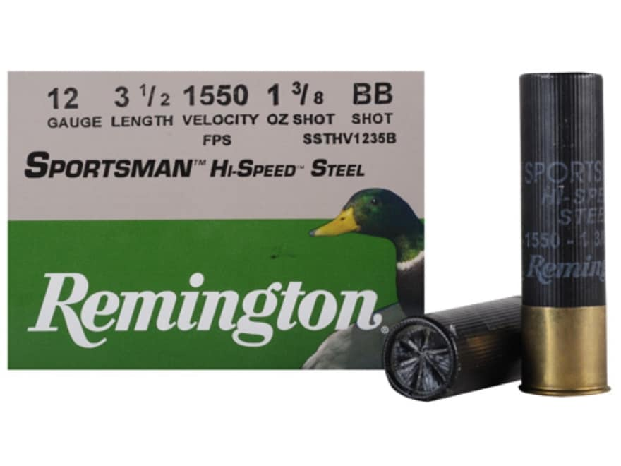 "Remington Sportsman Hi-Speed Ammunition 12 Gauge 3-1/2"" 1-3/8 oz BB Non-Toxic Steel Shot"