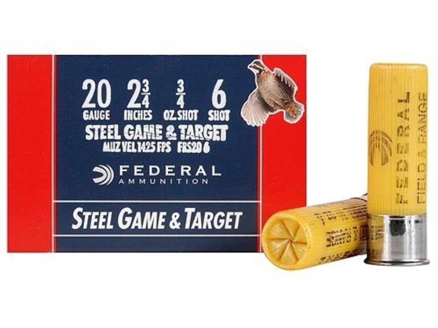 "Federal Game & Target Ammunition 20 Gauge 2-3/4"" 3/4 oz #6 Non-Toxic Steel Shot"