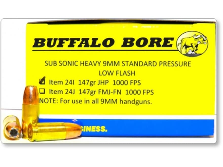 Buffalo Bore Ammunition 9mm Luger Subsonic 147 Grain Jacketed Hollow Point Low Flash Bo...