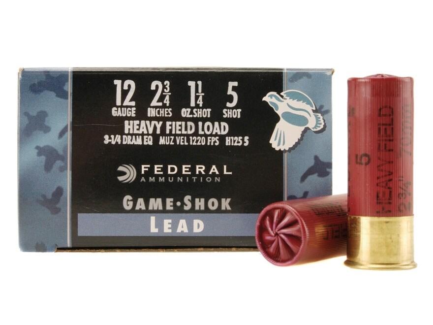 """Federal Game-Shok Heavy Field Load Ammunition 12 Gauge 2-3/4"""" 1-1/4 oz #5 Shot"""