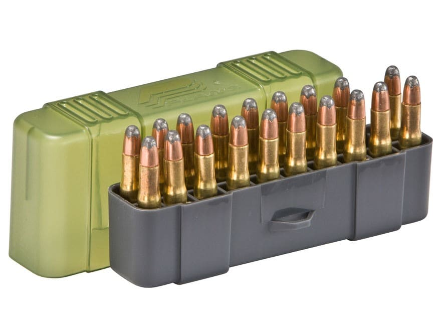 Plano Ammo Box 22-250 Remington, 250 Savage, 35 Remington 20-Round Plastic Olive Drab a...