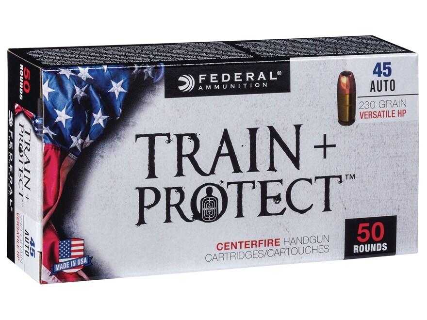 Federal Train + Protect Ammunition 45 ACP 230 Grain Versatile Hollow Point Box of 50
