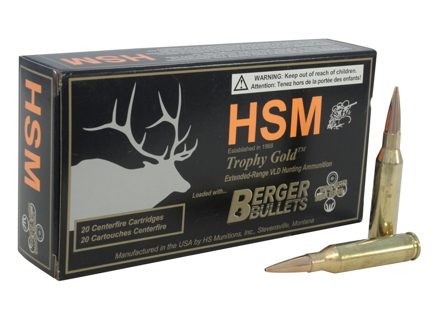 HSM Trophy Gold Ammunition 6.5 Creedmoor 140 Grain Berger VLD Box of 20