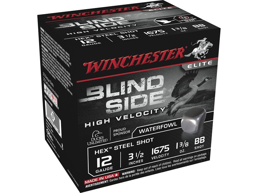 """Winchester Blind Side High Velocity Ammunition 12 Gauge 3-1/2"""" 1-3/8 oz BB Non-Toxic St..."""