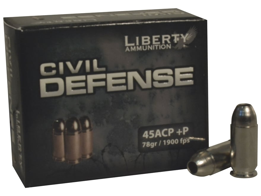 Liberty Civil Defense Ammunition 45 ACP +P 78 Grain Fragmenting Hollow Point Lead-Free ...