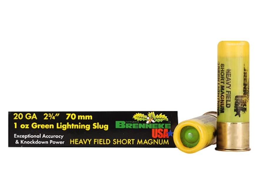 "Brenneke USA Green Lightning Heavy Field Short Magnum Ammunition 20 Gauge 2-3/4"" 1 oz L..."