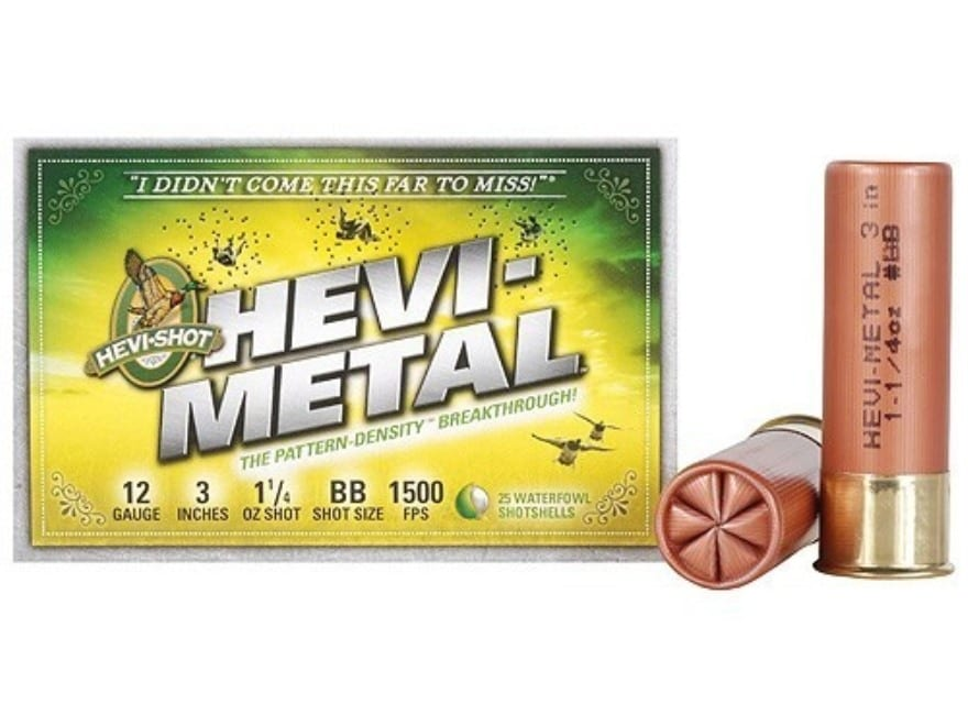 "Hevi-Shot Hevi-Metal Waterfowl Ammunition 12 Gauge 3"" 1-1/4 oz BB Hevi-Metal Non-Toxic"