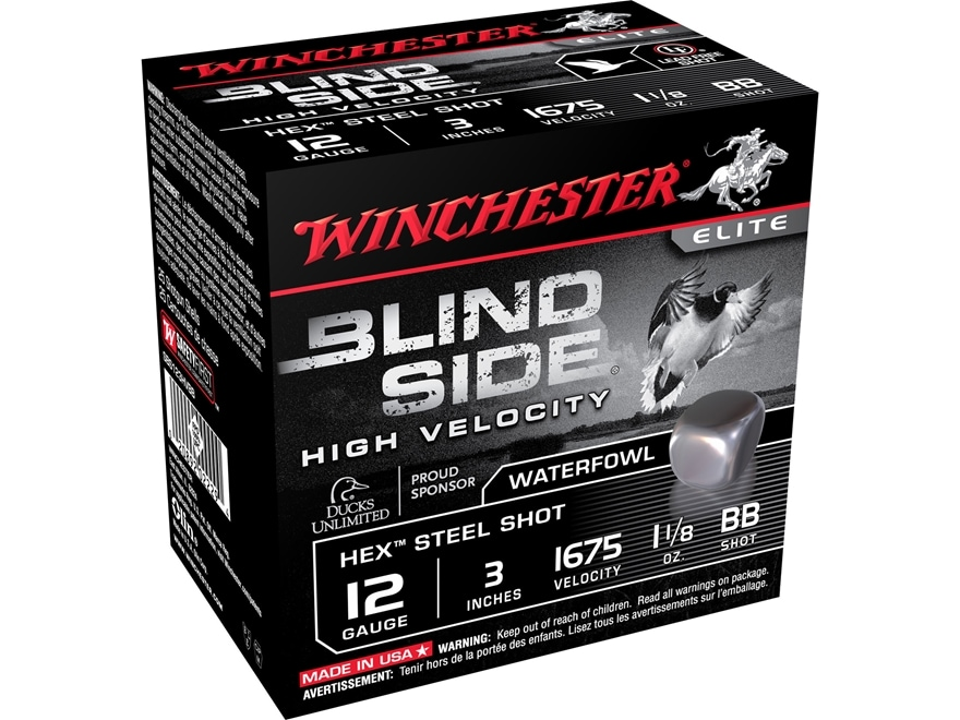 """Winchester Blind Side High Velocity Ammunition 12 Gauge 3"""" 1-1/8 oz BB Non-Toxic Steel ..."""