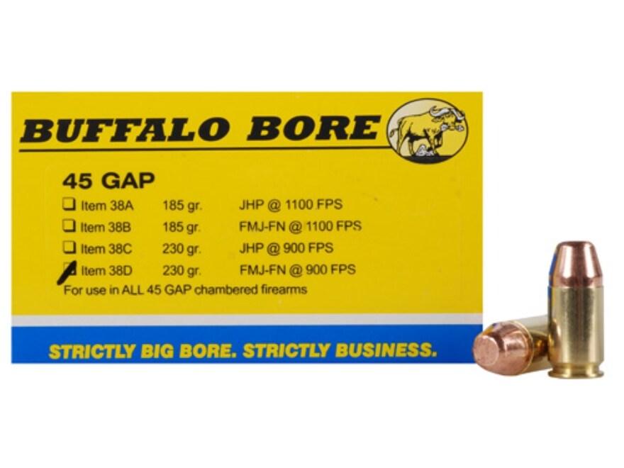 Buffalo Bore Ammunition 45 GAP 230 Grain Full Metal Jacket Flat Nose Box of 20