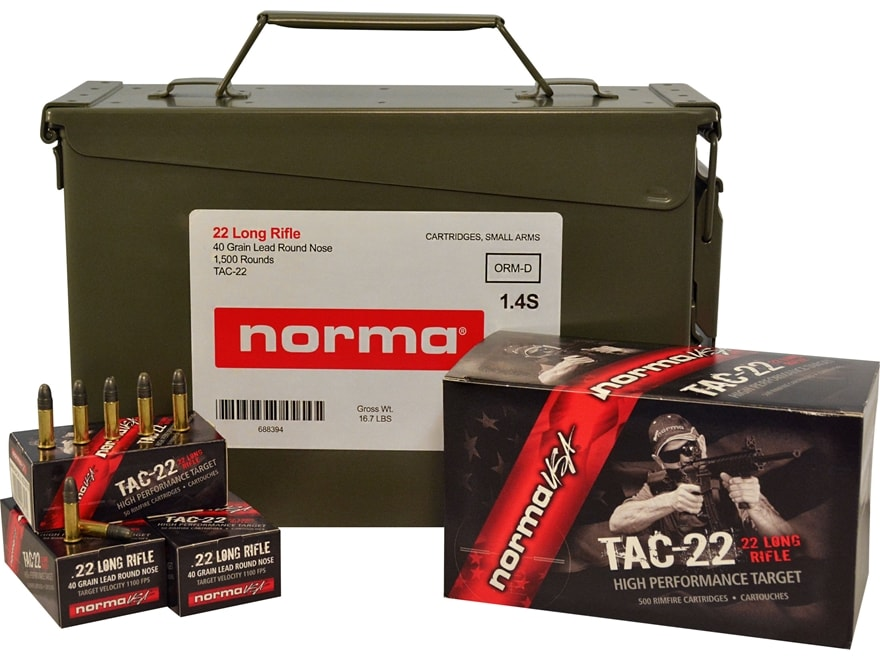 Norma USA TAC-22 Ammunition 22 Long Rifle 40 Grain Lead Round Nose Ammo Can of 1500 (3 ...