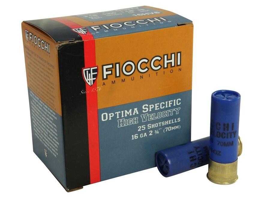 "Fiocchi High Velocity Ammunition 16 Gauge 2-3/4"" 1-1/8 oz #8 Chilled Lead Shot Box of 25"