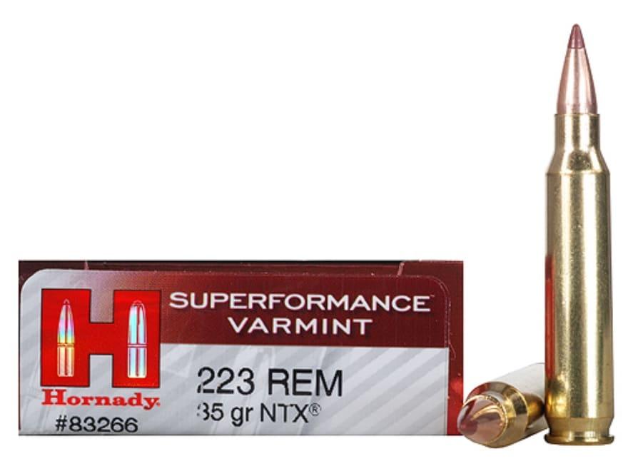 Hornady Superformance Varmint Ammunition 223 Remington 35 Grain NTX Lead-Free Box of 20