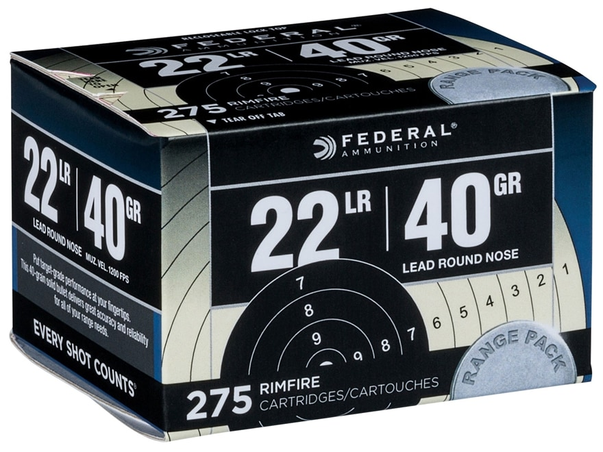 Federal Ammunition Target Pack 22 Long Rifle 40 Grain Lead Round Nose