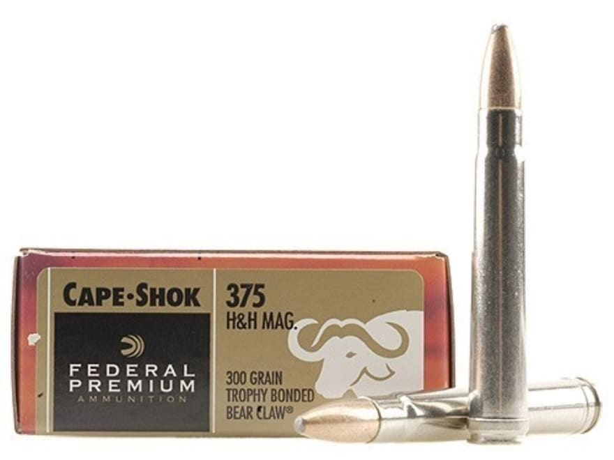 Federal Premium Cape-Shok Ammunition 375 H&H Magnum 300 Grain Trophy Bonded Bear Claw B...