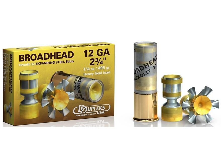 """DDupleks Broadhead Hexolit 32 Ammunition 12 Gauge 2-3/4"""" 1-1/8 oz Expanding Steel Slug ..."""