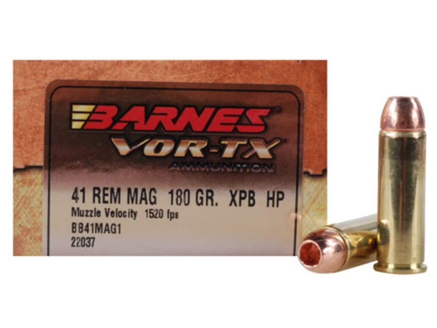 Barnes VOR-TX Ammunition 41 Remington Magnum 180 Grain XPB Hollow Point Lead-Free Box o...
