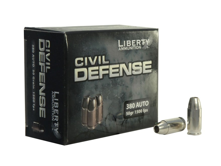 Liberty Civil Defense Ammunition 380 ACP 50 Grain Fragmenting Hollow Point Lead-Free Bo...