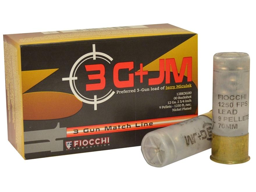 "Fiocchi 3-Gun Ammunition 12 Gauge 2-3/4"" 00 Buckshot 9 Nickel Plated Pellets Box of 10"