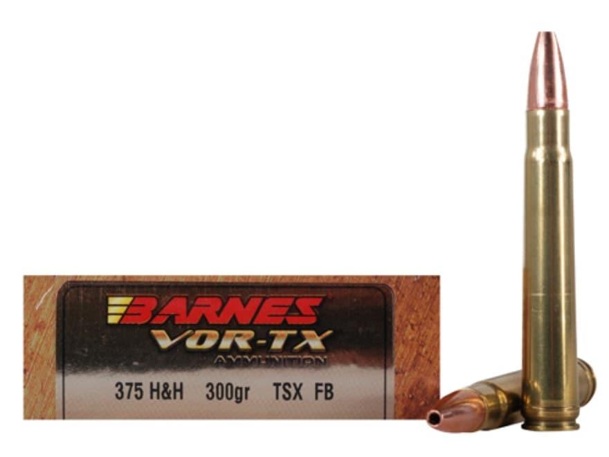 Barnes VOR-TX Safari Ammunition 375 H&H Magnum 300 Grain TSX Hollow Point Flat Base Lea...