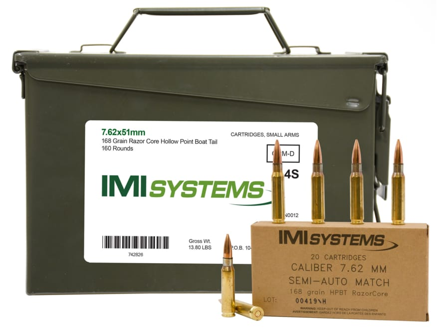 IMI Ammunition 7.62x51mm NATO 168 Grain Razor Core Hollow Point Boat Tail Ammo Can of 1...
