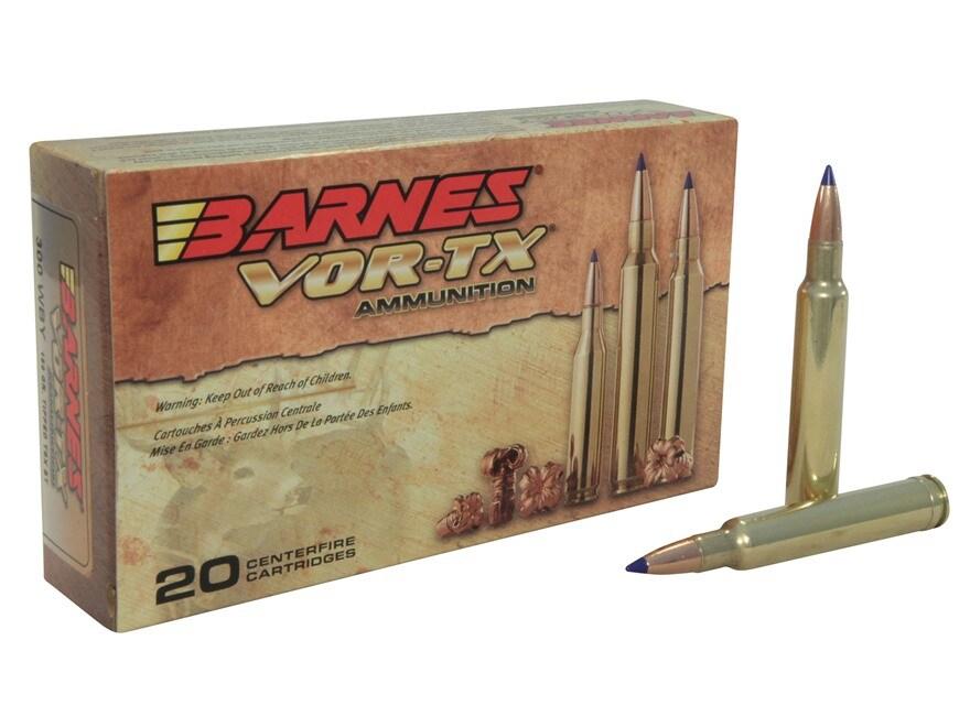 Barnes VOR-TX Ammunition 300 Weatherby Magnum 180 Grain TTSX Polymer Tipped Spitzer Boa...