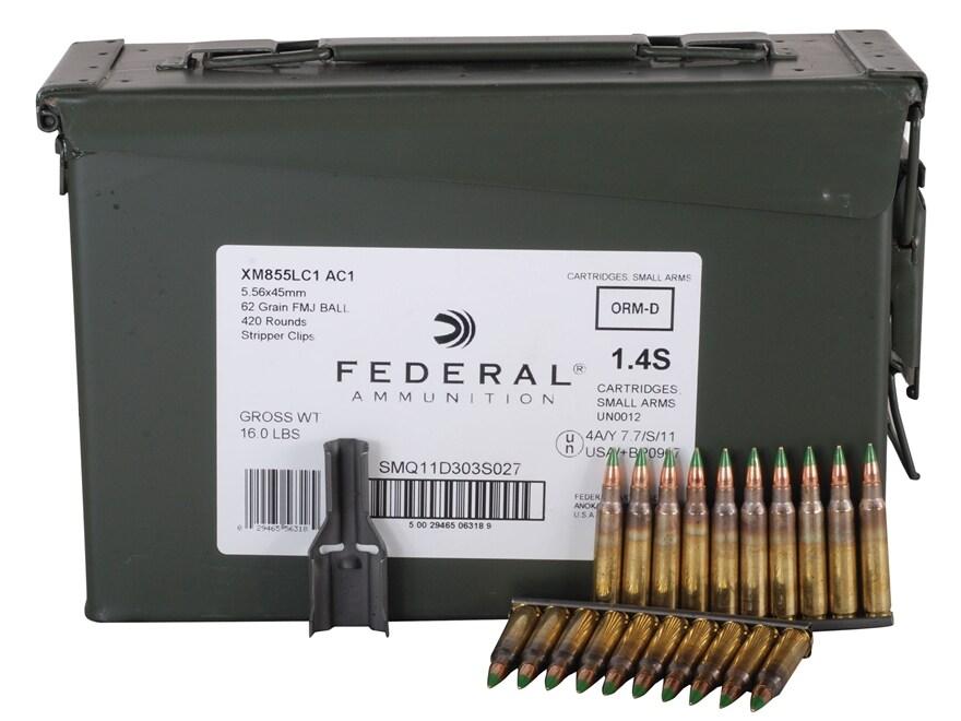Federal Ammunition 5.56x45mm NATO 62 Grain XM855 SS109 Penetrator Full Metal Jacket 10 ...
