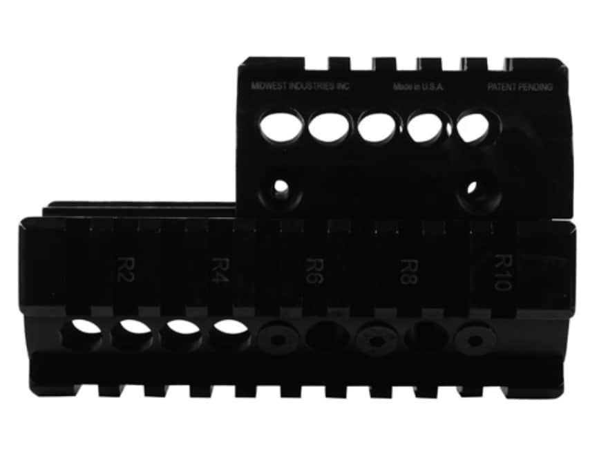 Midwest Industries 2-Piece Handguard Quad Rail Mini Draco AK-47 Pistol Aluminum Black