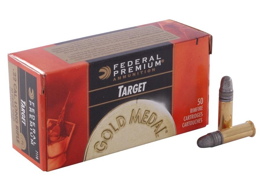 Federal Premium Gold Medal Target Ammunition 22 Long Rifle 40 Grain Lead Round Nose
