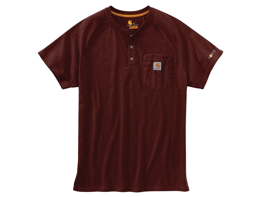Carhartt Men's Force Delmont Henley T-Shirt Short Sleeve