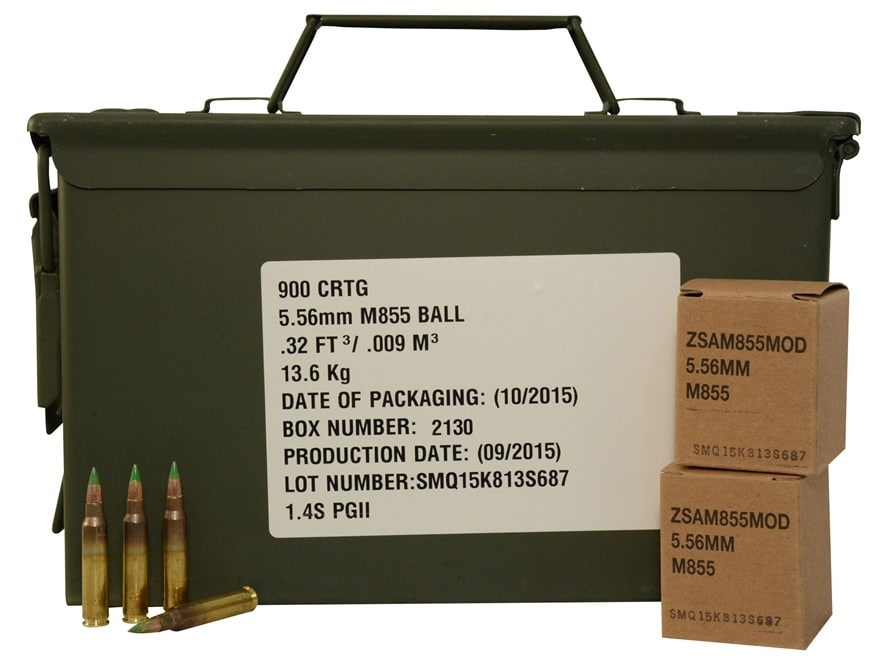 Federal Lake City Ammunition 5.56x45mm NATO 62 Grain XM855 SS109 Penetrator Full Metal ...