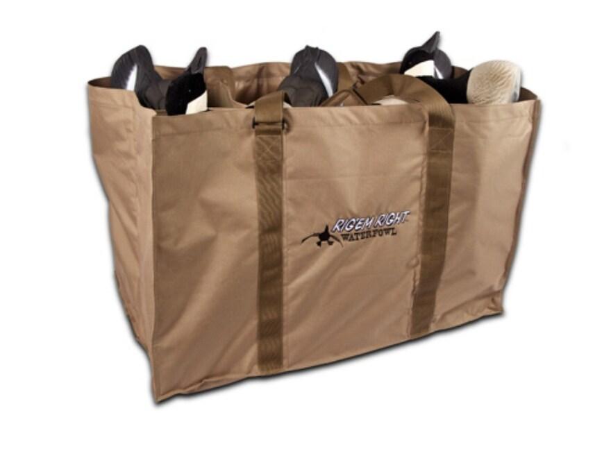 Rig'Em Right 6 Slot Floater Goose Decoy Bag Nylon Tan and Black