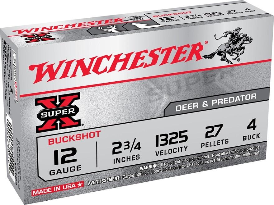 """Winchester Super-X Ammunition 12 Gauge 2-3/4"""" Buffered #4 Buckshot 27 Pellets"""