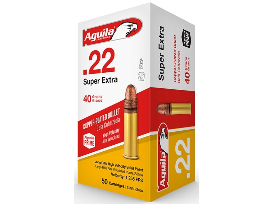 Aguila Super Extra High Velocity Ammunition 22 Long Rifle 40 Grain Plated Lead Round Nose