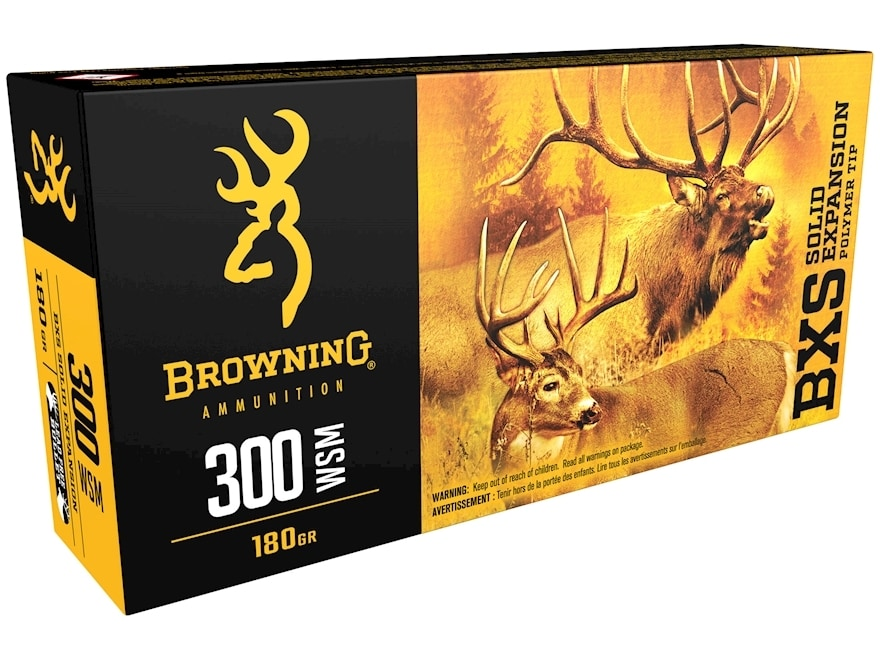 Browning BXS Solid Expansion Ammunition 300 Winchester Short Magnum (WSM) 180 Grain Sol...