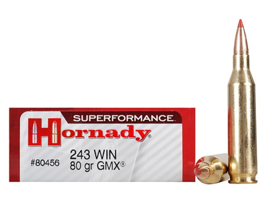 Hornady Superformance GMX Ammunition 243 Winchester 80 Grain GMX Boat Tail Lead-Free Bo...