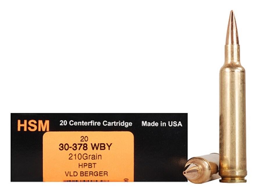HSM Trophy Gold Ammunition 30-378 Weatherby Magnum 210 Grain Berger Hunting VLD Hollow ...
