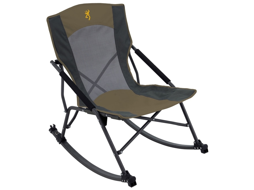Browning Cabin Folding Rocking Chair Steel Black and Tan